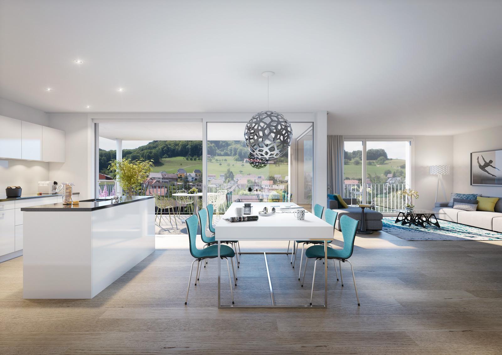 Moderne Wohnung in der Überbauung